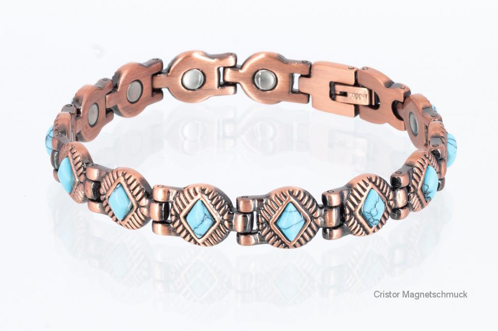 CU8373tue - Kupfer - Magnetarmband mit türkisfarbenen Einlagen