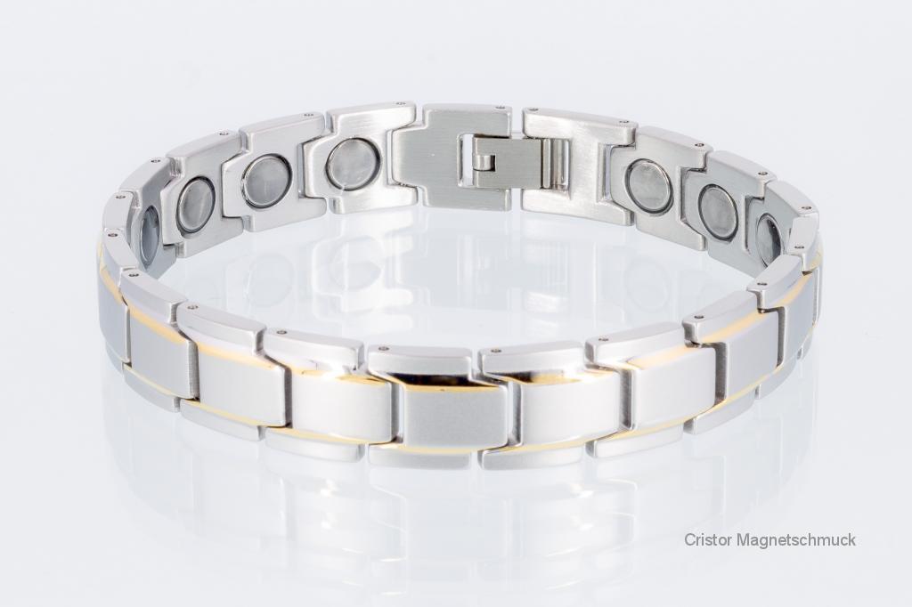 8262B4P - Magnetarmbänder als Partnerset bicolor mit extra-starken Magneten