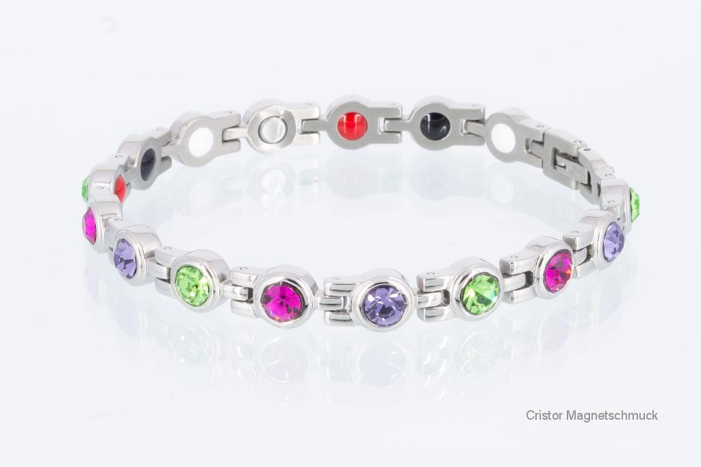 E8379SZ - 4-Elemente Armband silberfarben mit 3 verschiedenfarbigen Zirkoniasteinen