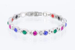 4-Elemente Armband silberfarben mit 3 verschiedenfarbigen Zirkoniasteinen - e8380sz