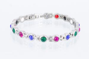 E8380SZ - 4-Elemente Armband silberfarben mit 3 verschiedenfarbigen Zirkoniasteinen