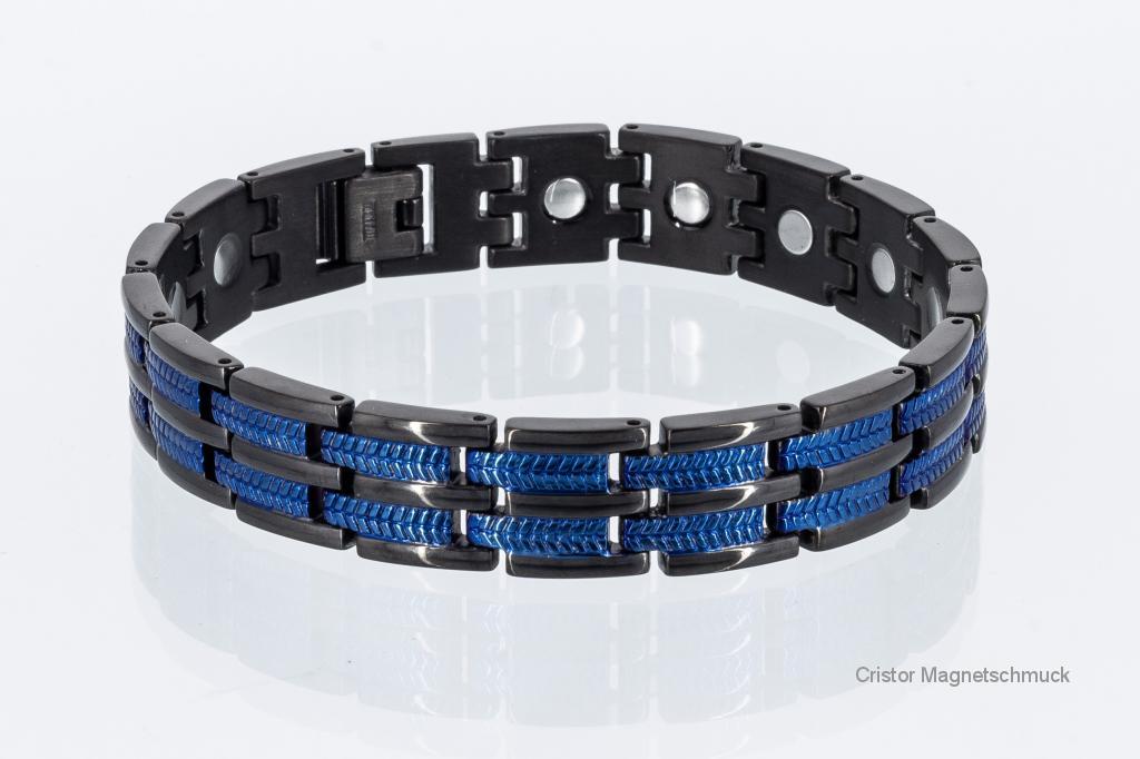 T8327BLblaub - Titan-Energiearmband schwarz mit blau