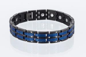 Titan-Energiearmband schwarz mit blau - t8327blblaub