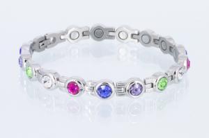 8382SZ - Magnetarmband silberfarben mit 5 verschiedenfarbigen Zirkoniasteinen