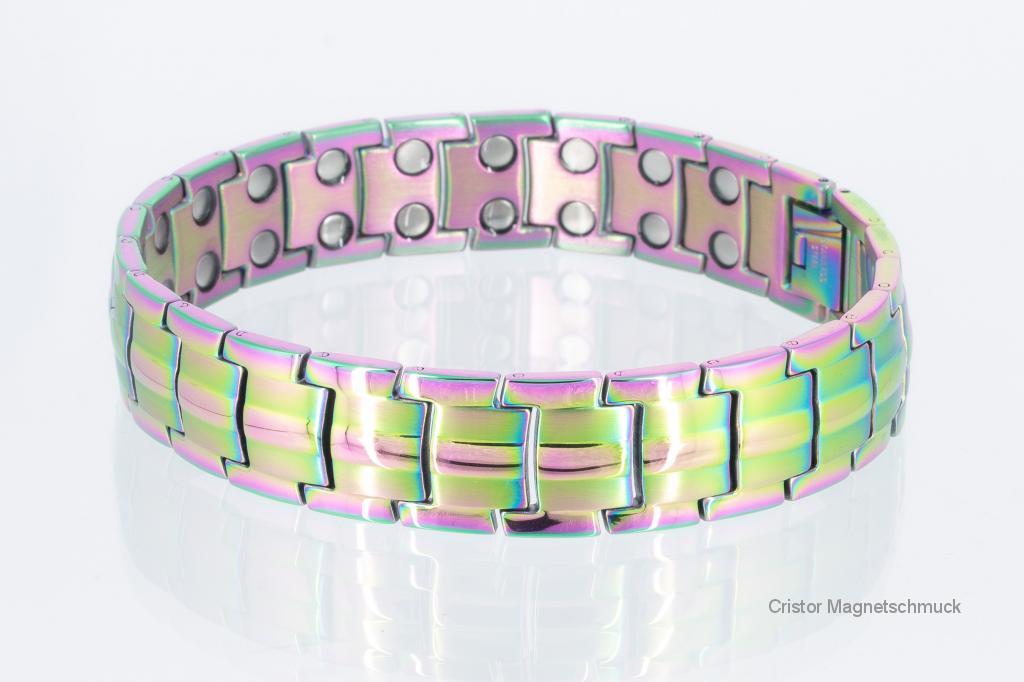 8901Mc - Doppelreihiges Magnetarmband metallfarbig