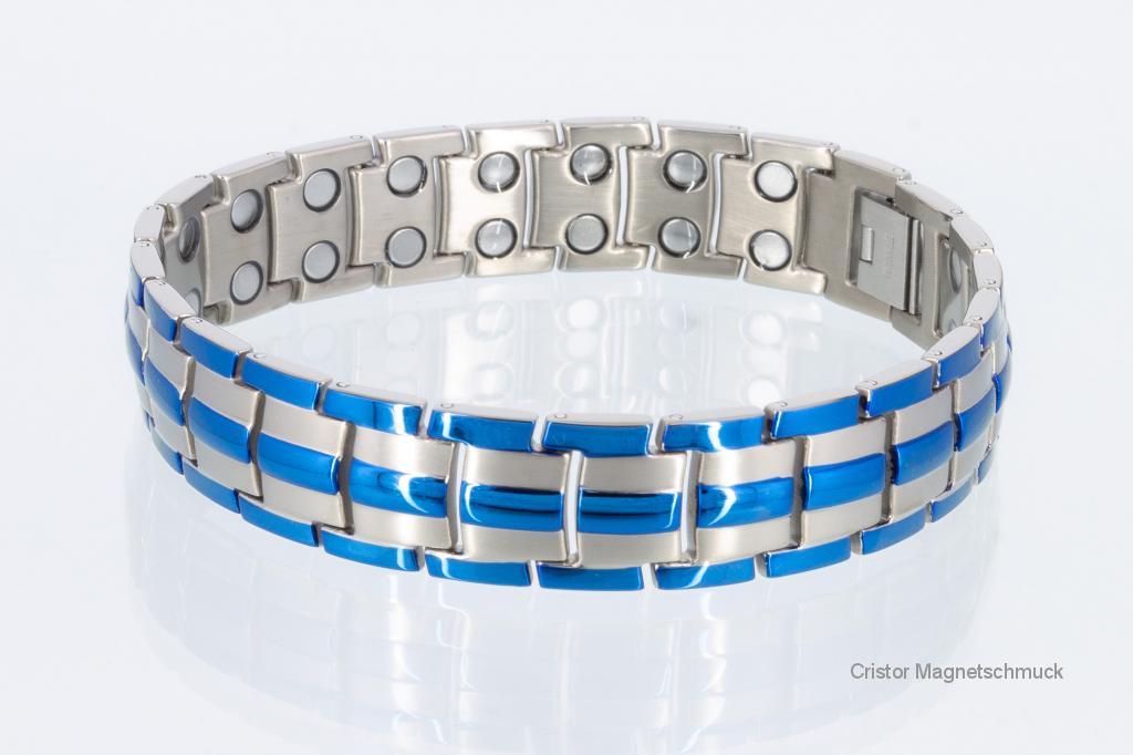 T8901blaus - Doppelreihiges Titan-Magnetarmband blau und silber
