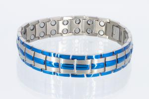 Doppelreihiges Titan-Magnetarmband blau und silber - t8901blaus