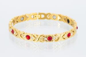 E8042G2Z - 4-Elemente Armband goldfarben mit roten und weißen Zirkonia