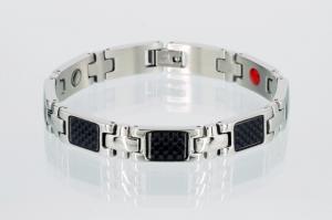E8345BLS - 4-Elemente Armband silberfarben mit schwarzer Carbonfasereinlage