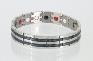 E8327BLS - 4-Elemente Armband silber schwarz
