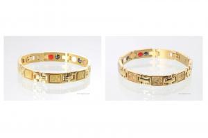 TE8302GP - Titan-Energiearmbänder als Partnerset goldfarben