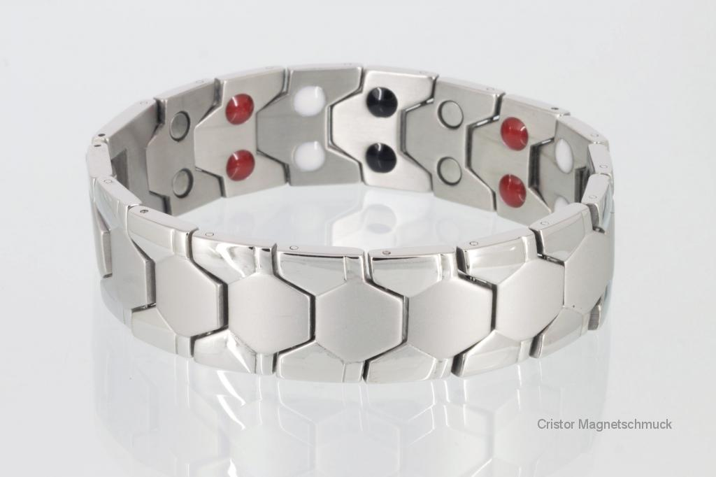 E8619S - Doppelreihiges Energiemagnetarmband silberfarben