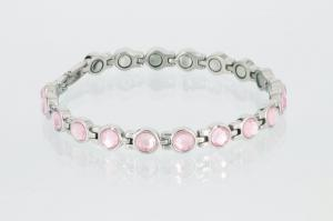 8524SZ - Magnetarmband silberfarben mit rosefarbenen Einlagen