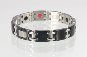 E8075BLS - 4-Elemente Armband schwarz mit silbernen Stegen
