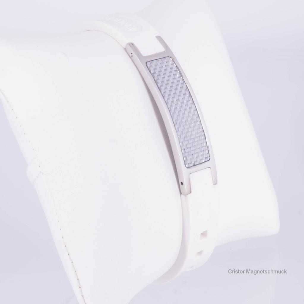 KEW9040WS - Energiearmband silber weiß mit weißer Carbonfasereinlage