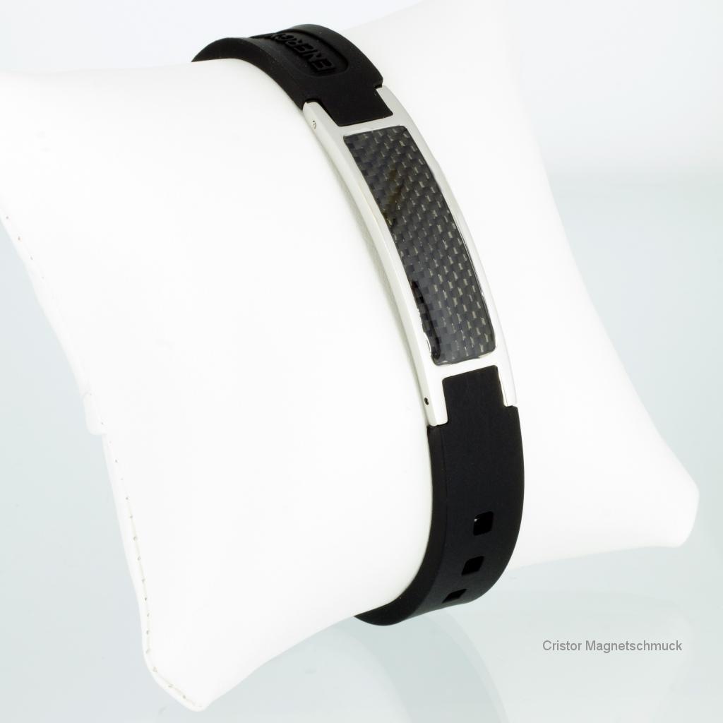 KEBL9050BLS - Energiearmband silber schwarz mit schwarzer Carbonfasereinlage