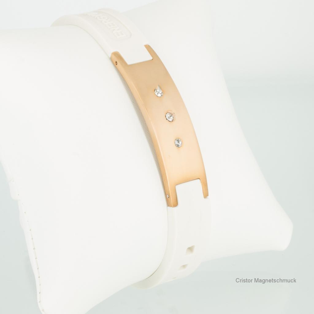 KEW9010RGZ - Energiearmband mit rosegoldfarbener Platte und Zirkoniasteinen