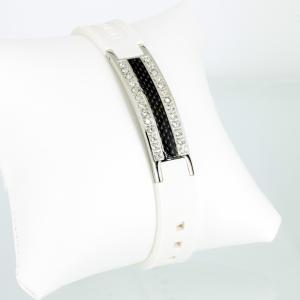 KEW9013BLSZ - Energiearmband silber weiß mit schwarzer Carbonfasereinlage und Zirkonia