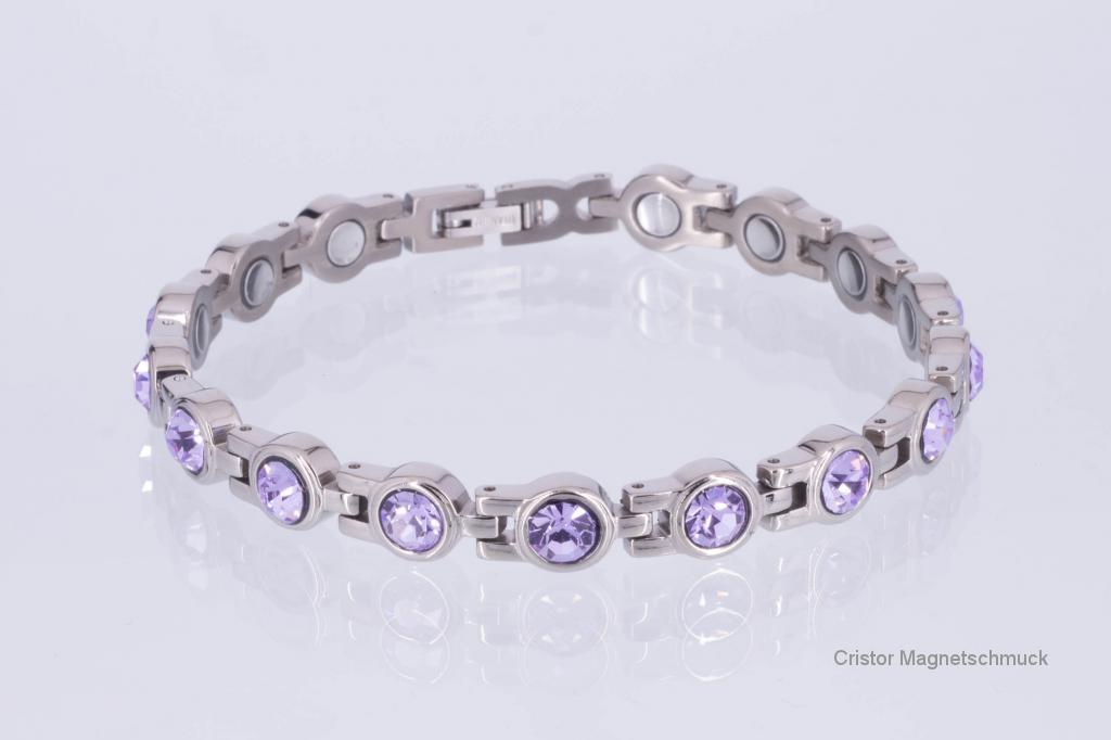 8531SZ - Magnetarmband silberfarben mit violettfarbenen Zirkonisteinen