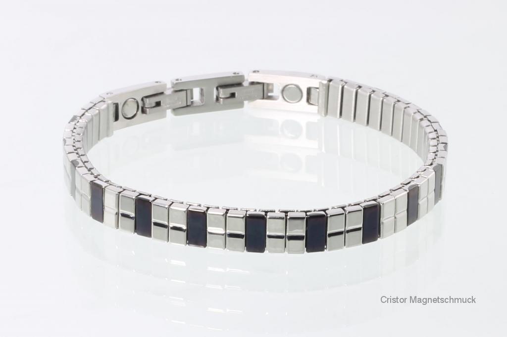 F5003BLS - Flexarmband schwarz silber