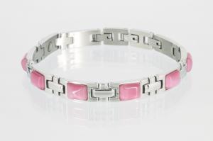 8125SR - Magnetarmband silberfarben mit rosafarbenen Steinen