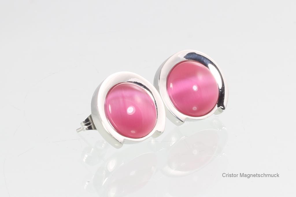 2125SR - Magnetohrstecker bicolor mit rosafarbenen Steinen