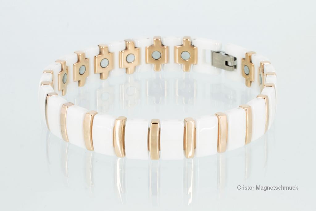C8182WP - Ceramik-Magnetarmbänder als Partnerset weiß rose