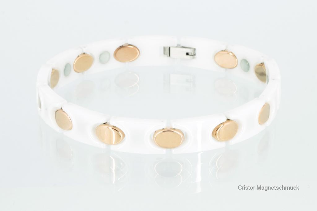C8132WRG - Ceramik-Magnetarmband weiß rose