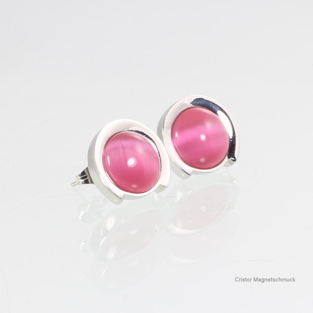 8125SRSet - Magnetschmuckset silberfarben mit rosafarbenen Steinen