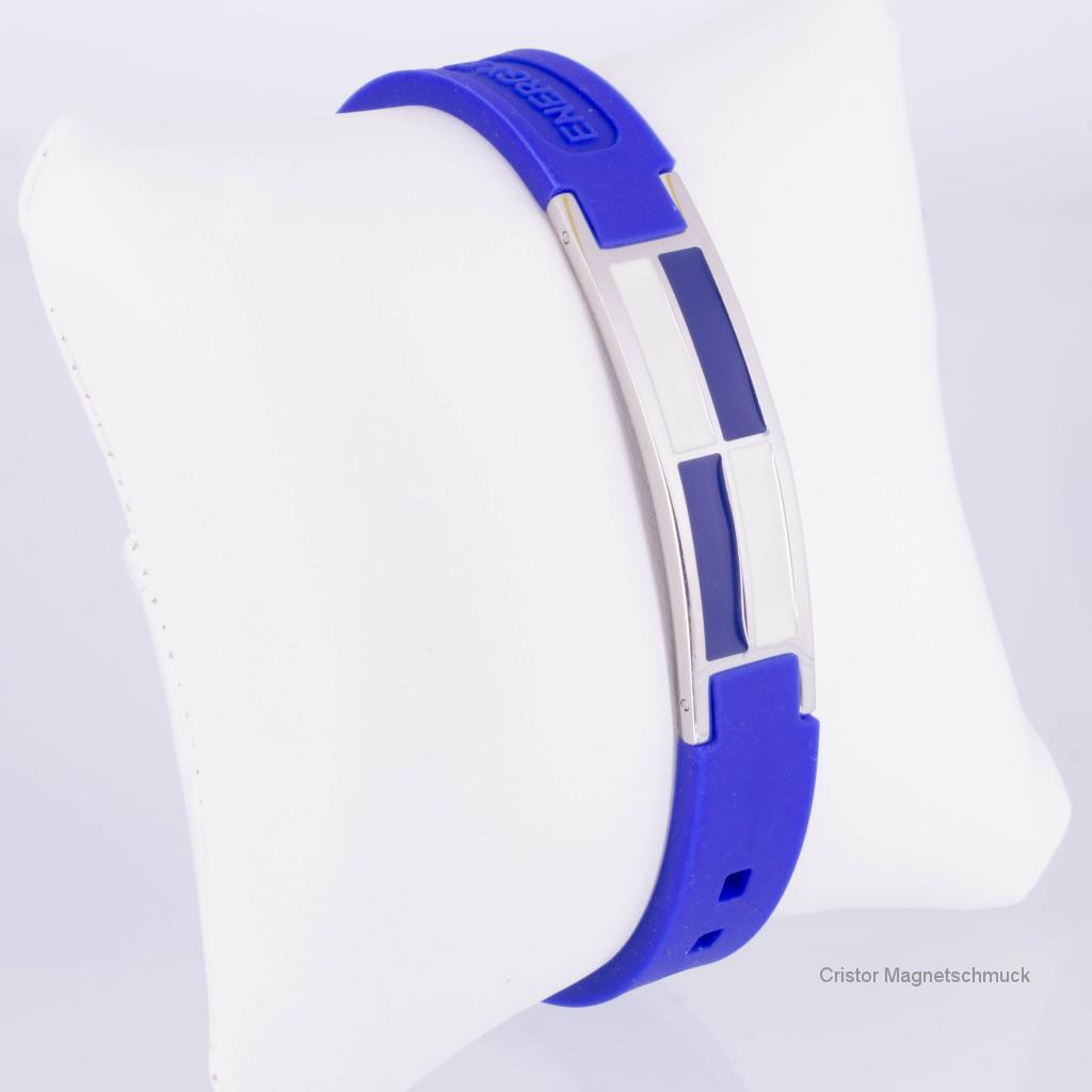 KEB9016B - Energiearmband in silber weiß blau