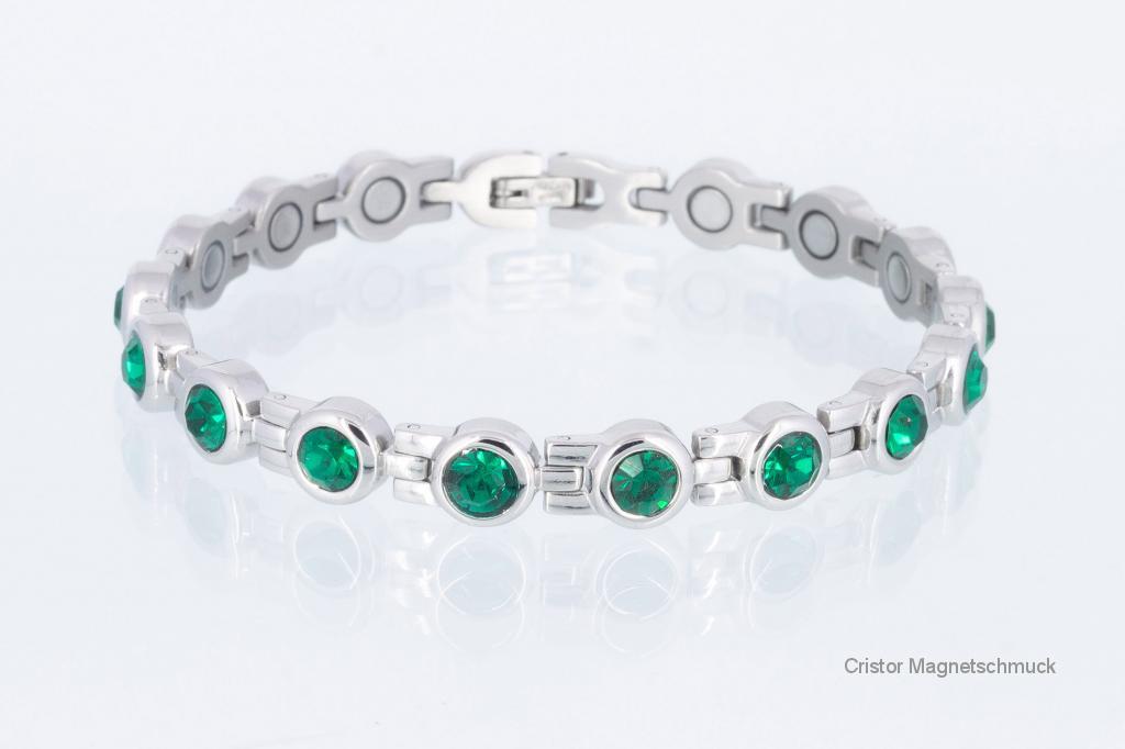 8532SZ - Magnetarmband silberfarben mit smaragdgrünen Zirkoniasteinen