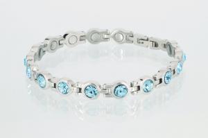 8533SZ - Magnetarmband silberfarben mit aquamarinblauen Zirkoniasteinen