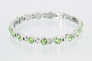 8535SZ - Magnetarmband silberfarben mit peridotgrünen Zirkoniasteinen