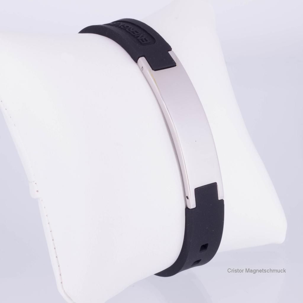 KEBL9020S - Energiearmband in silber schwarz